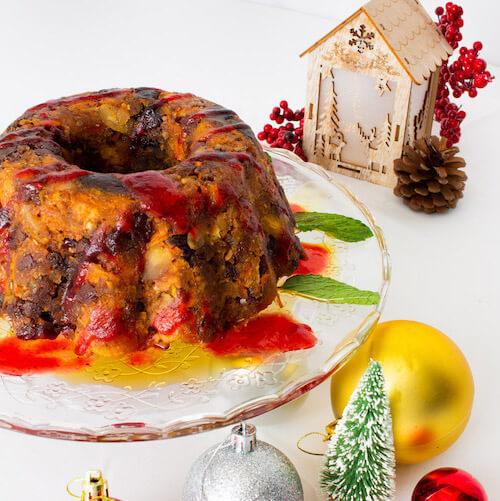 傳統聖誕蛋糕 配白蘭地醬
